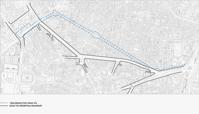 Plan of Gran Via, with original design indicated.
